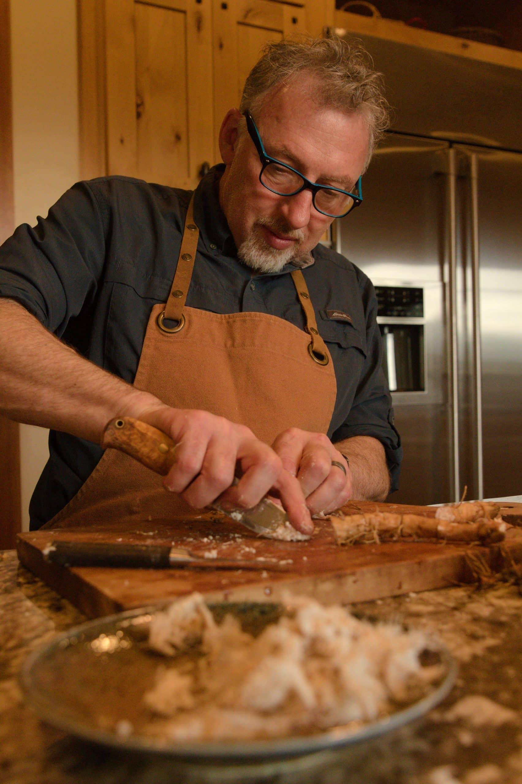 Chef Paul Rogalski in the kitchen